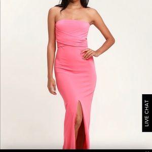 Vibrant Bright Pink Strapless Maxi Dress